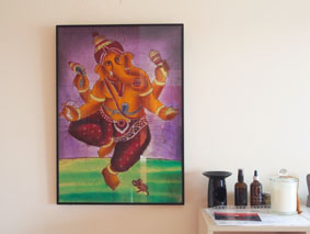Ganesh on the wall of Phillip Island Yoga