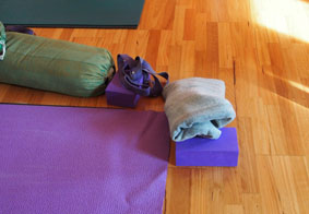 Iyengar yoga props at Phillip Island Yoga